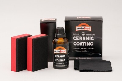Ceramic Coating   Lasts for More than 100 Washes   50ml Pack   2 Applicator Pads + 2 Coating Cloth