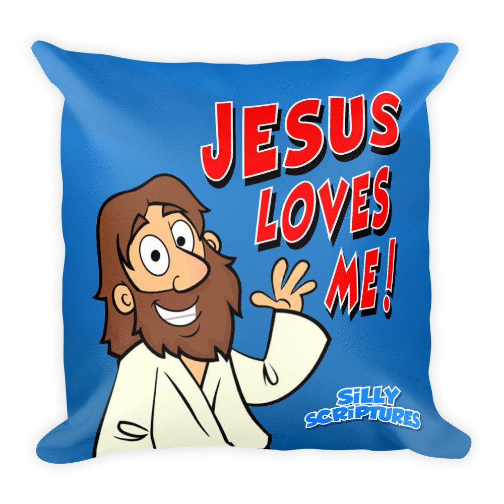"Jesus Loves Me"" Square Pillow"