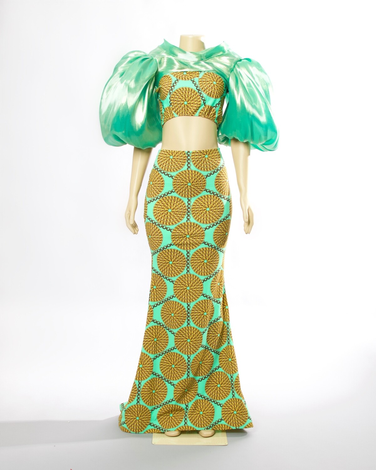 Turquoise And Gold Print Gown