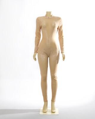 Nude Sheer Rhinestoned Bodysuit.