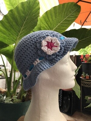 Summer Crochet hat with a flower 100% cotton