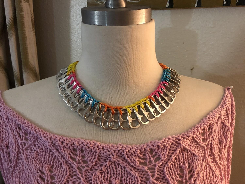 Soda Tops Necklace, choker crocheted with nylon thread