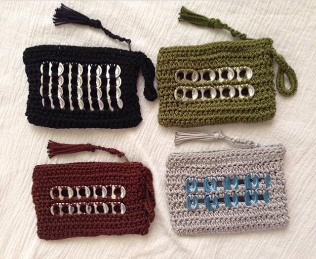 Crochet, Wrist strap, coin purse, mini purse handmade with clean recycled soda top pops, sturdy nylon thread
