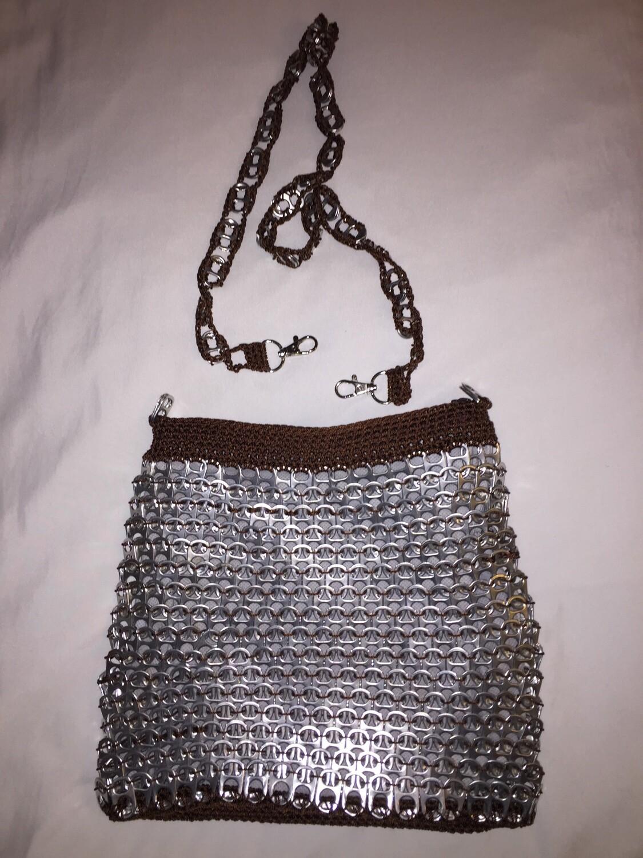 BROWN Bag. Crossbody, nylon thread with Soda top pops