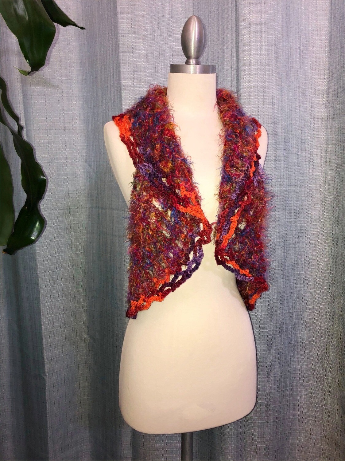 Orange, Red, Purple with fluffy edges Vest Size S-M