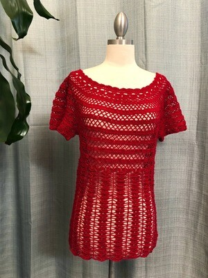 Red Crocheted Blouse Size S-M