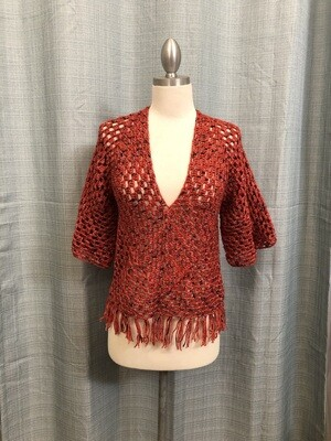 Orange, black dots with fringes Crocheted Blouse Size S