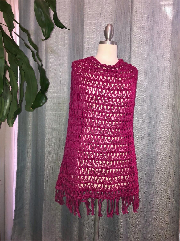 Fuchsia Cotton shawl Vest with fringes Size M