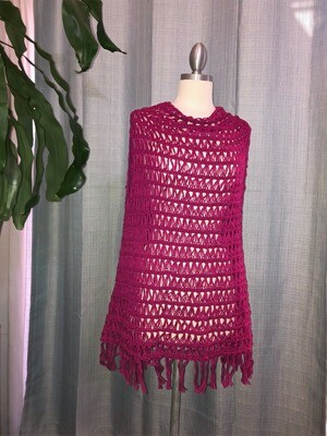 Fuchsia Cotton shawl Vest with fringes Size M