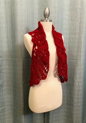 Red Velvet Crocheted Vest Size M