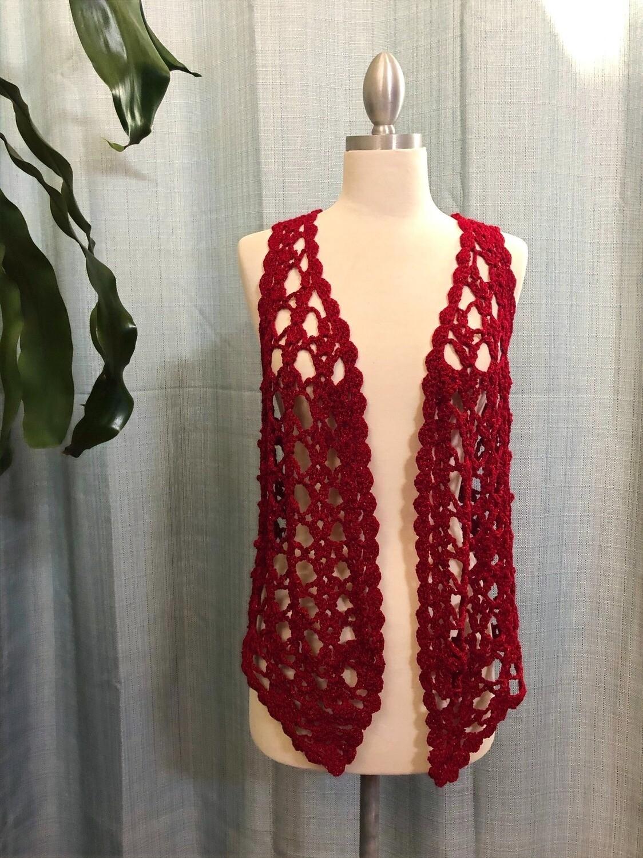 Red Velvet with Glitter Crocheted Vest Size M