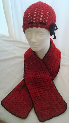 Red and Black ribbon crocheted hat and scarf