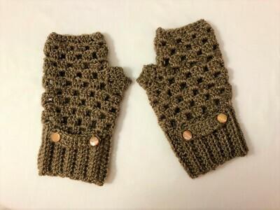 Light Brown Fingerless Gloves for Women, Keep Warm Mitten
