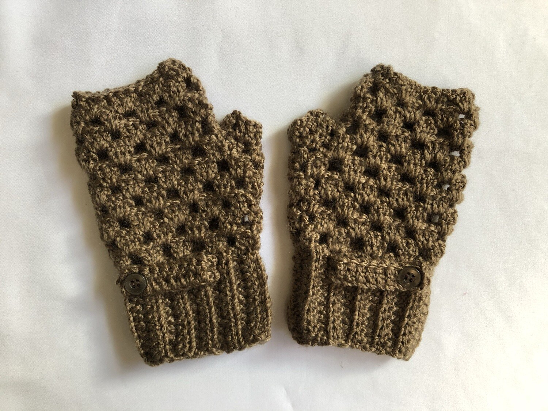 Light Brown with 1 button Fingerless Gloves for Women, Keep Warm Mitten