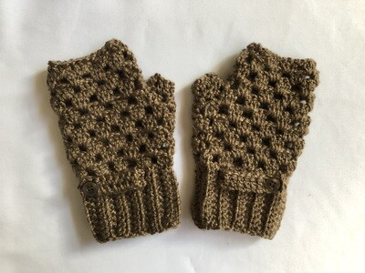 Light Brown with 1 button Fingerless Gloves for Women, Keep Warm Mitten