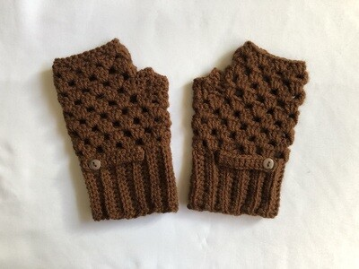Dark Brown with button Fingerless Gloves for Women, Keep Warm Mitten