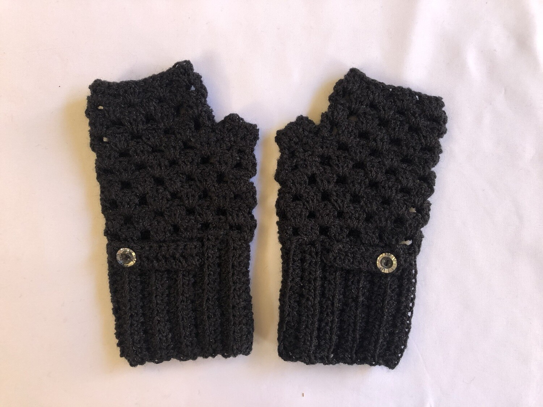 Black with button Fingerless Gloves for Women, Keep Warm Mitten