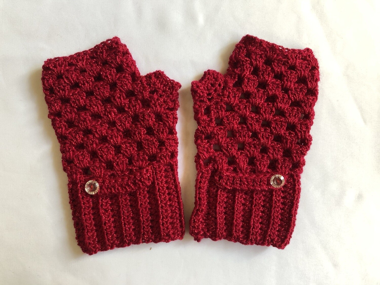 Red with button Fingerless Gloves for Women, Keep Warm Mitten