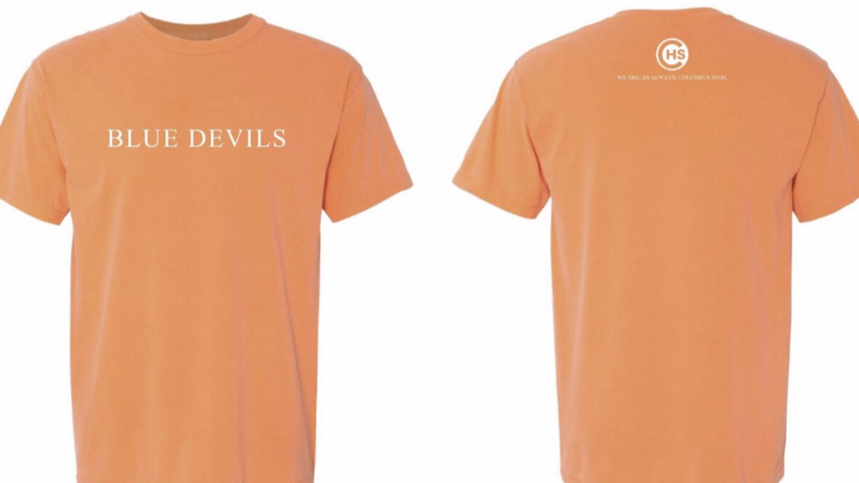 """Blue devils"" Soft Orange Short Sleeve"