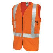 DNC 190GSM DAY/NIGHT CROSS BACK COTTON SAFETY VEST. 3M8906 R/TAPE