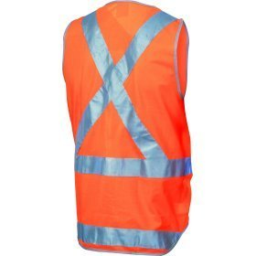 DNC DAY/NIGHT CROSS BACK SAFETY VESTS WITH TAIL. 3M8906 R/TAPE