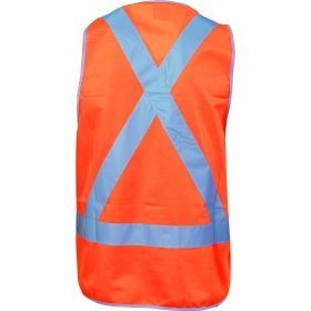 DNC DAY & NIGHT SAFETY VEST WITH  H PATTERN IN FRONT & CROSS BACK CSR R/TAPE