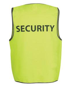 """JBs Hi Vis SAFETY VEST PRINT """"SECURITY"""" LIME"""