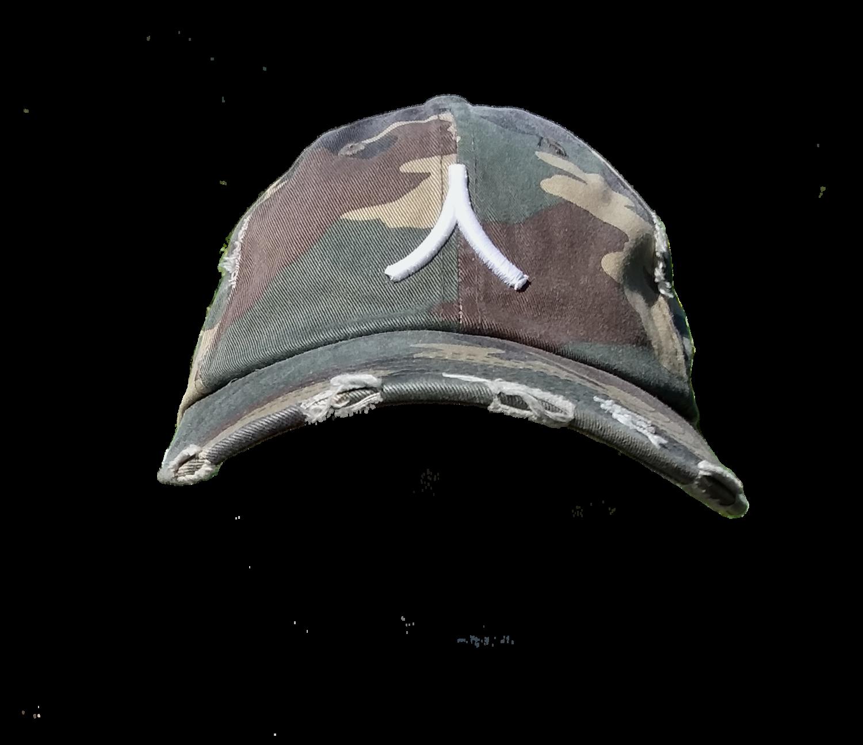 Character By Rakiem Logo Branded Destressed Cap - Camo