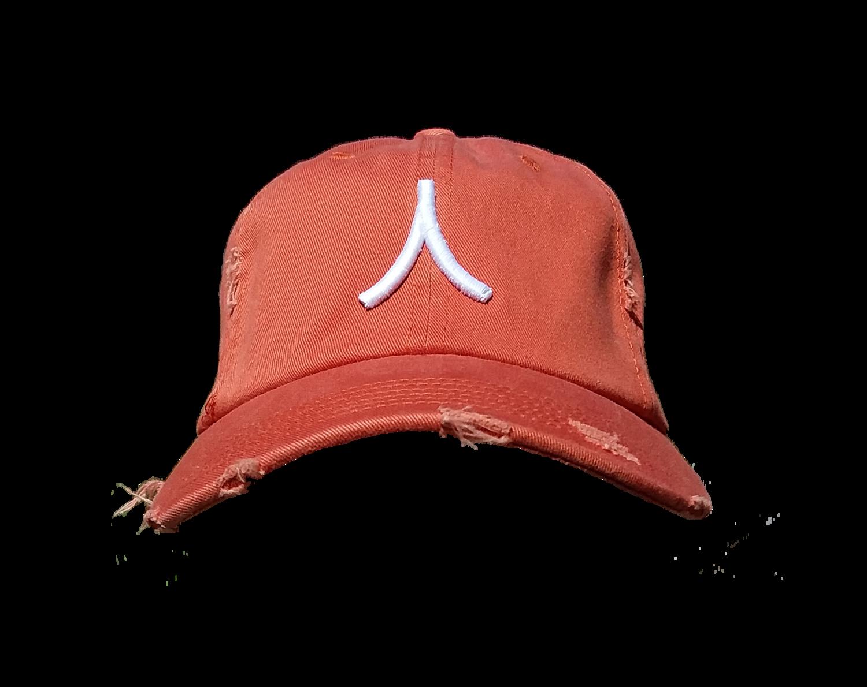Character By Rakiem Logo Branded Destressed Cap - Orange