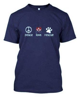 Peace Love Rescue T-Shirt (Blue)