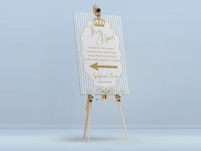 Baby Blue Prince Welcome Sign