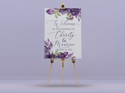 Purple Lily Welcome Sign