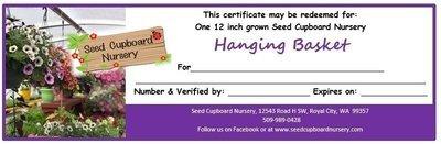Hanging Basket Gift Certificate