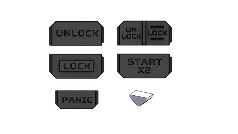 Extra Button Set - Injection Fob IF013 (Wrangler JL)