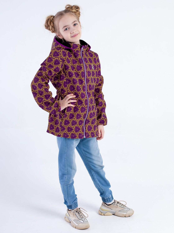 """Водоотталкивающая куртка для девочки """"Smail"""" Softshell фиолетово-жёлтая"""