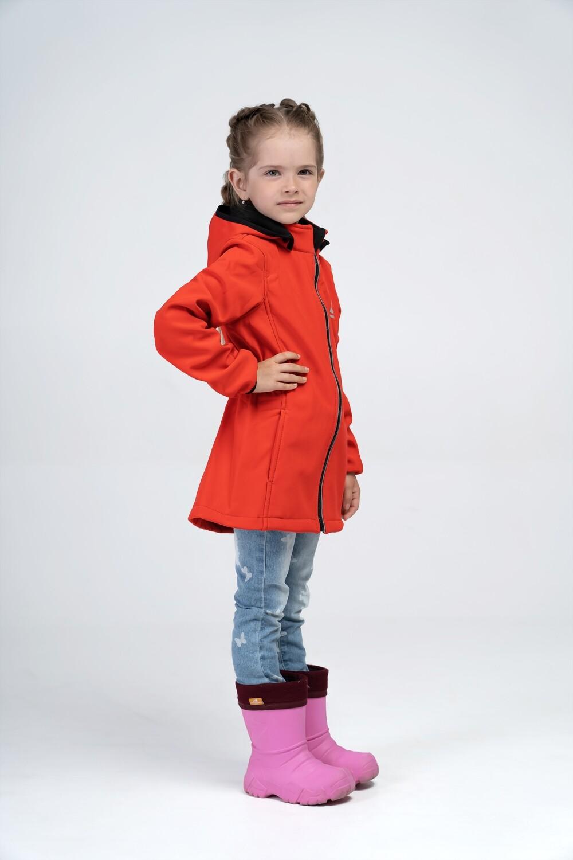 Водоотталкивающая куртка для девочки Smail Softshell красная
