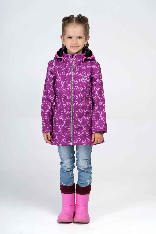 """Водоотталкивающая куртка для девочки Smail """"Спиннеры"""" Softshell  розовый"""