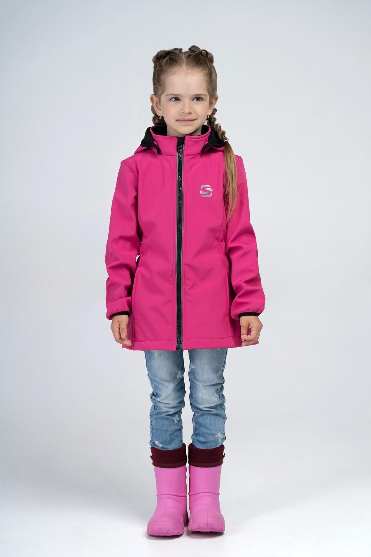 """Водоотталкивающая куртка для девочки """"Smail"""" Softshell розовая"""