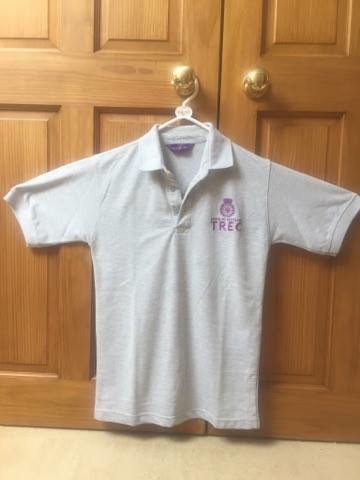 Grey with purple embroidery front and back.Sizes small to Xxl. Kids sizes available too.Ladies fit available £24.99