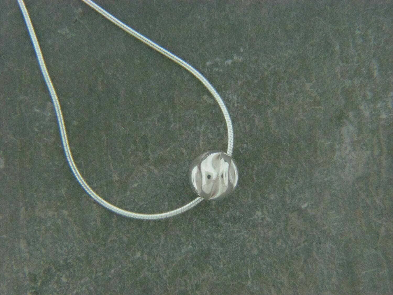 Single Sterling Fancy Bead Pendant