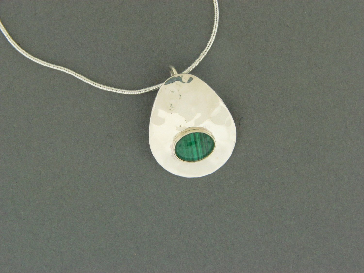 Hammered Plate w/Stone Pendant
