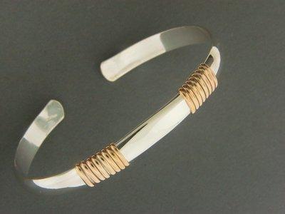 Heavy 1/2 Round w/GF Wrap Bracelet