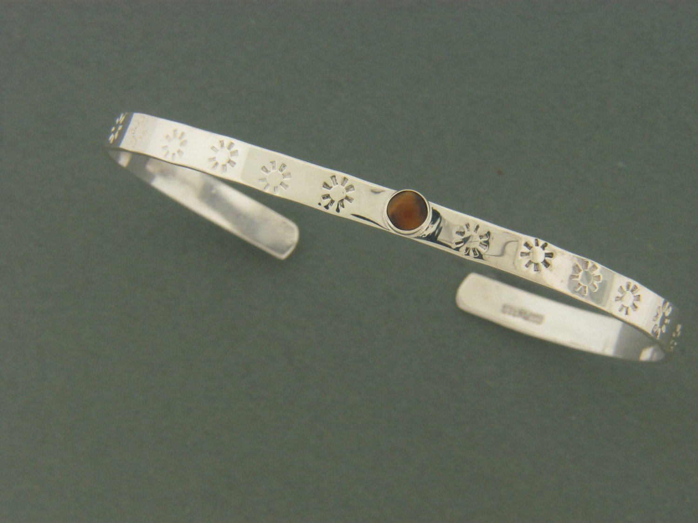 Thin Flat Cuff w/Stone Bracelet