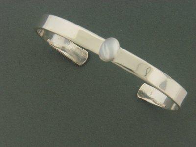 Flat Cuff Smooth w/Stone Bracelet