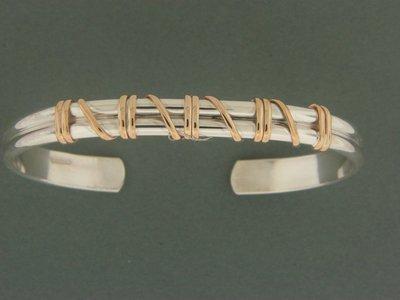 Heavy Double Band w/ GF Wrap Cuff Bracelet