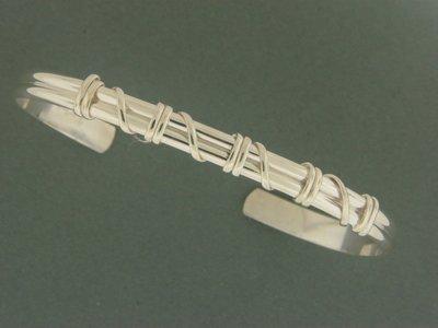 Light Double Band w/SS Wrap Cuff Bracelet