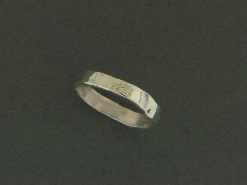 Thin Flat Hammered Ring