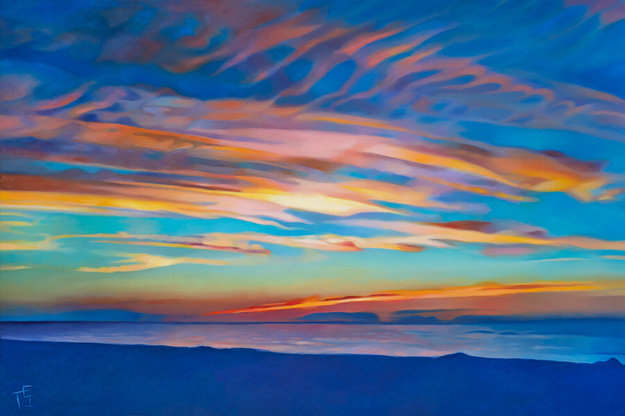 """""""Sunset at Mayflower Beach"""", 36""""x24"""" Gallery Wrapped Canvas Print"""