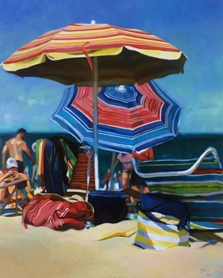 """""""Sea and Stripes"""", Original Oil Painting on Gallery Wrapped Canvas, 30 x 24 inches"""