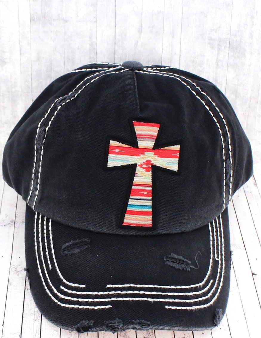 Distressed Cross Hat (2 Colors)